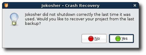 Jokosher recovering a project after crashing